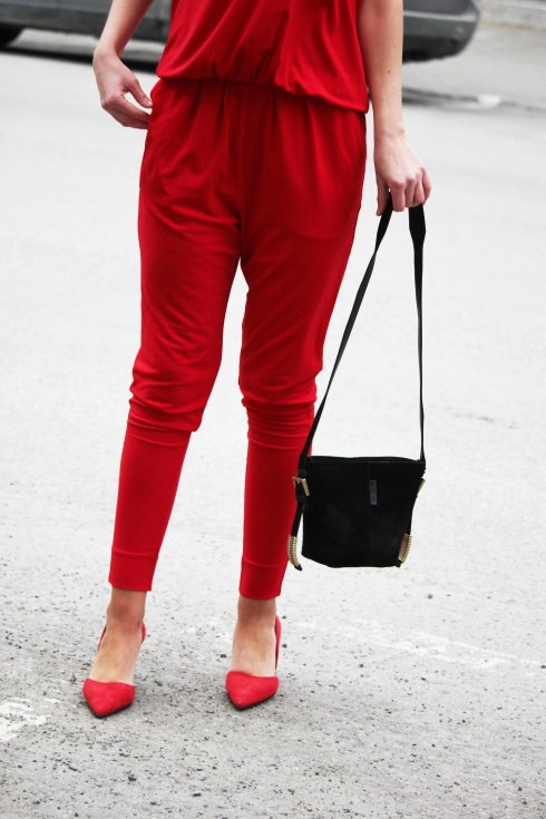 mb rød jumpsuit bukse for