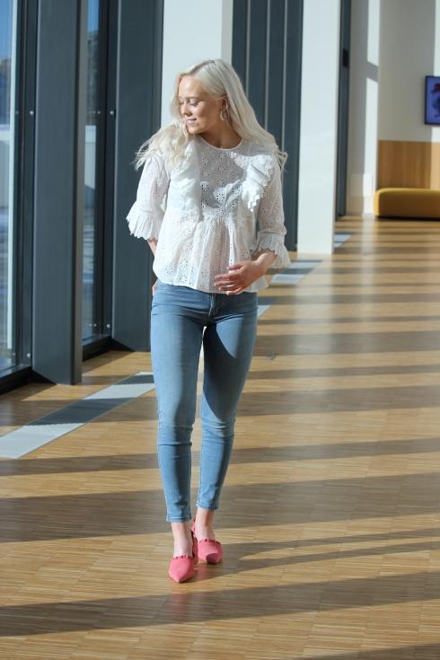 timo blondebluse hvit hel