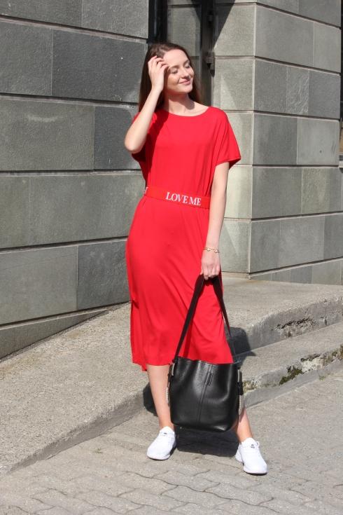 holz rød lang kjole hel